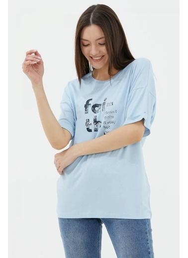 Sementa Yarasa Kol Baskılı Geniş Kalıp T-Shirt - Mavi Mavi